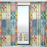 Mnsruu Rideaux Voilage Fenêtre Boho Ethnique Souple Tulle Voilage pour Salon Chambre 140 x 213 cm 2 Panneaux