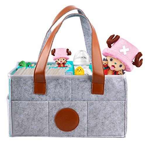 Lulalula Grande Baby Diaper Caddy, portable, Sac à Organiseur, chambre d'enfant de stockage Organiseur Poubelle, feutre gris Baby Shower Panier cadeau avec poches et interchangeable compartiments