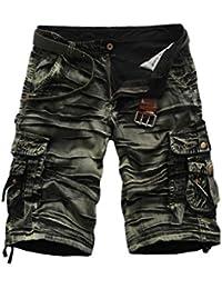Elonglin Homme Camo Shorts Cargo de Loisir Coton Pantacourt Multi-Poches (SANS CEINTURE)