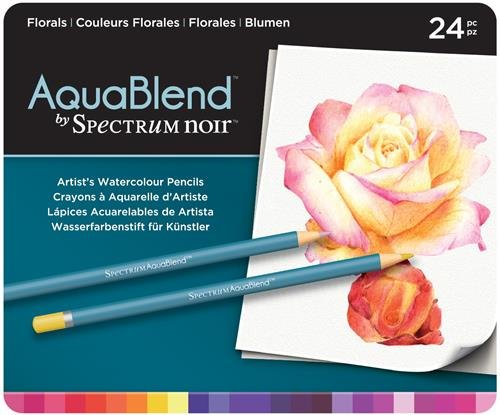 Spectrum Noir - Buntstifte aus der Reihe Aquablend in Blumigen Farben, Mehrfarbig, Packung mit 24 Stiften