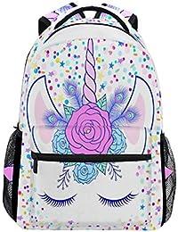 Unicorn - Mochila de viaje para ordenador portátil, resistente al agua, diseño de unicornio con flores, para mujeres y…