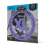 D'Addario CDD EXP115 Cordes pour Guitare Électrique avec Revêtement Medium/Blues/Jazz 11-49 Transparente