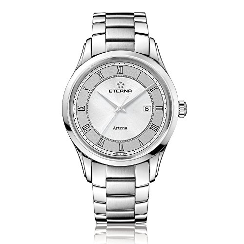 Eterna Artena Men's Quartz Watch with Grey Dial Analogue Display and Silver Stainless Steel Bracelet 2520.41.55.0274