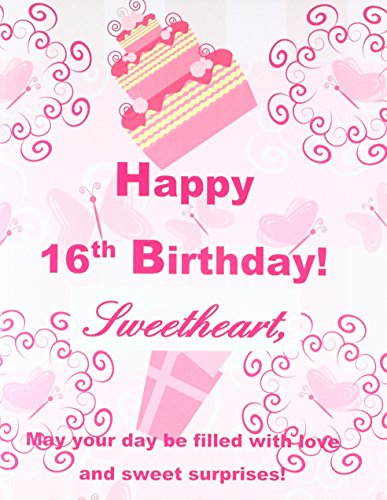 Happy 16th Birthday Sweetheart XL Greeting Notebook Journal16th Card In