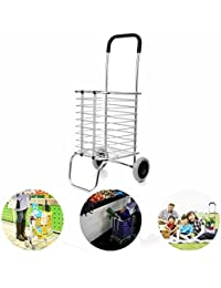 Aluminum Folding Shopping Cart Trolley With Wheel Deluxe Utility Cart