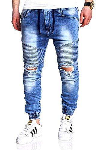 MT Styles Jogg-Jeans Biker RJ-2082 [Hellblau, W32]