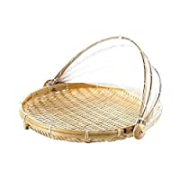 Sliveal Food Tent Basket, Hand-Woven Straw Storage Baskets With Gauze Cover, Fruit Vegetable Bread Cover Storage Container Outdoor Picnic Food Cover- Proof Dust-Proof Keep Out Flies Bug Mosquitoes
