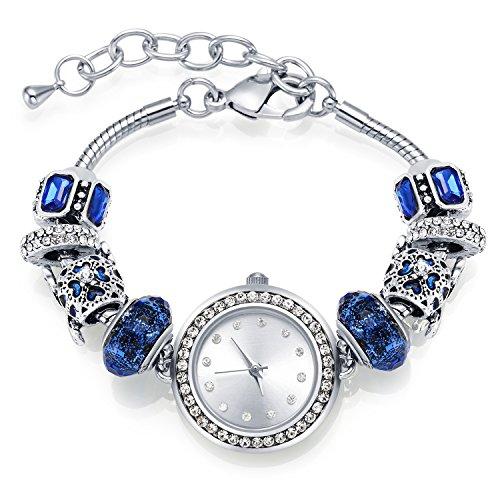 Damen-Armbanduhr MANBARA Uhren Frauen-Galaxie-Universum Sterne Crescent mit Swarovski Kristall Silber-Charme-Armband-Uhren (Swarovski-charme-armband)