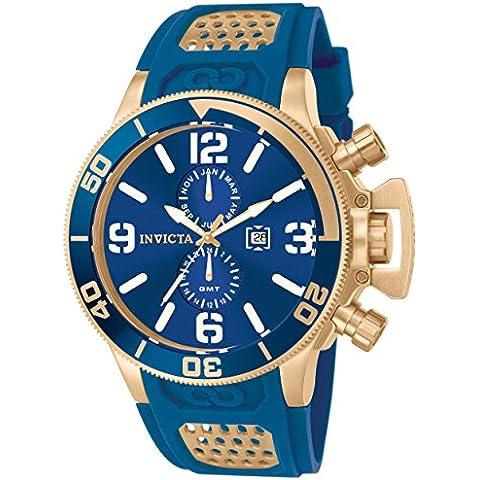 Invicta -Orologio da Uomo, al quarzo, display cronografo, cinturino in PU Blu e quadrante Blu 10505 - 18k Quadrante Blu