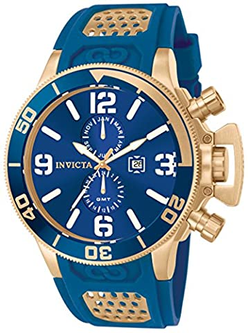 Invicta Men's Quartz Watch with Blue Dial Chronograph Display and Blue PU Strap 10505