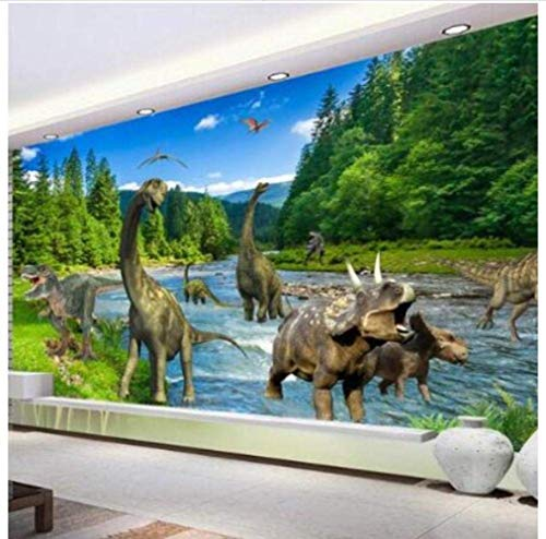 YBHNB Benutzerdefinierte Fototapete 3D Stereo Große Wandbilder Dinosaurier Wohnzimmer Schlafsofa Schlafzimmer Flash Silber Tuch Wallpaper-200X140Cm -
