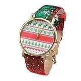 Armbanduhr Damen Ronamick Frauen Weihnacht sanhänger beiläufige Schnee flocke Gurt Quarz Uhr Armbanduhr Uhr Uhren(D)