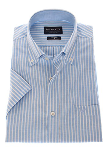 167106 - Bots & Bots Exclusive Collection - Manches Courtes - 55% Lin / 45% Coton - Button Down - Normal Fit Bleu Clair