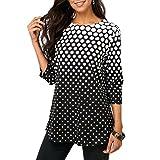 UFACE Damen Rundhalsausschnitt Kurzarm Polka Dot Print Farbverlauf Top O-Ausschnitt T-Shirt Oberteile Dreiviertel Ärmel Polka Dot Print Bluse(Schwarz,EU/42CN/M)