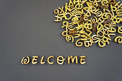 250 Letras Adhesivas de Madera pequeñas, 1 cm, diseño de Alfabeto, decoración NF47