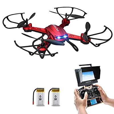 Drone with Camera, Potensic® F181DH RC Quadcopter RTF Altitude Hold UFO with Newest Hover, Stepless-speed Function, 2MP HD Camera, 5.8Ghz FPV LCD Screen Monitor& 3D Flips Function - Red by Potensic