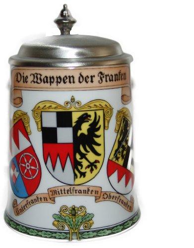 bayerischer Bierkrug Made in Germany mit Wappen aus Franken und Zinndeckel Bierkrüge, Deutsch