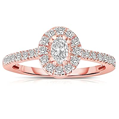 Half Carat Oval cut Halo Diamond Engagement Ring in Rose Gold