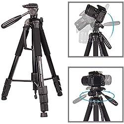 CAMBOFOTO 176.5cm Trépied/Monopod, Trépied Appareil Photo avec Un Monopode de 165cm pour pour Canon Nikon Sony DSLR Caméra et Un Sac de Transport