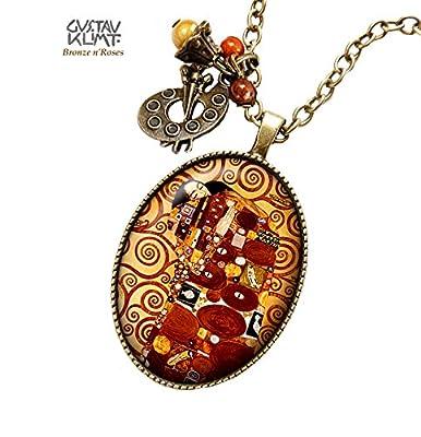 Sautoir Le baiser bijou collier cabochon bronze Gustav Klimt cadeau noël