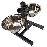 2 ciotole per cani in acciaio inox, con supporto regolabile in altezza, per cibo e acqua