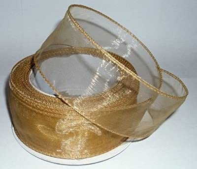 **GOLD**chiffon organza wired ribbon 20m x 50mm