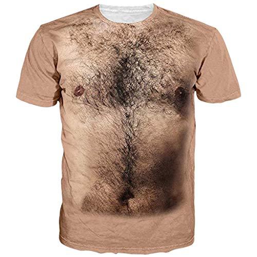 FRAUIT Urlaub Shirt Herren Sommer Rundhalsausschnitt T-Shirts Unisex Lustige Muskel 3D Printed Kurzarm T-Shirts Hipster Party Fancy Dress 3D Offensive Boobs Gedruckt Tee Bluse Tops Oberteile