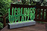 Schriftzug wie Sonnenfänger, im Holzsockel, 30 cm, grünes Acryl fluoreszierend -