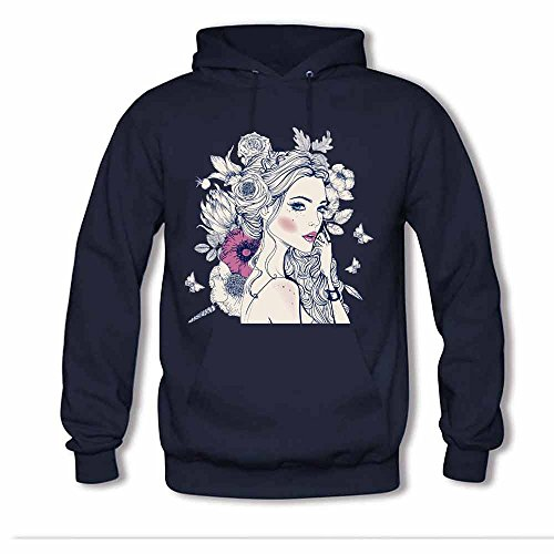 Women's Fashion Beautiful Girl with Floral Hairstyle Hooded Sweatshirt Cotton Hoodies XL
