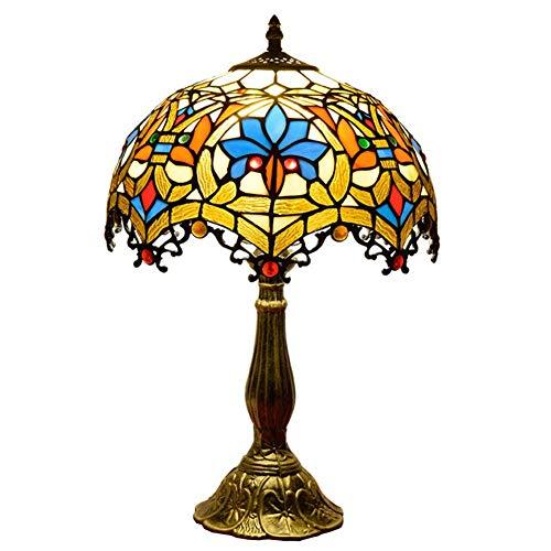 XHJZ-H Tiffany-Stil Tischlampe, Schreibtisch neben Lampen 12 Zoll Glasmalerei Schatten, leichte Aluminiumlegierung Basis für Wohnzimmer Schlafzimmer Couchtisch