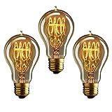 KJLARS 3x Vintage Edison Glühbirne Glühlampe E27 60W Birne Für