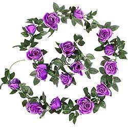 LUYUE Vintage Seda Artificial flor de Rose Ivy Vine hojas guirnalda para colgar Vine boda cadena planta casa decoración de interior/al aire libre, Morado, 1 unidad