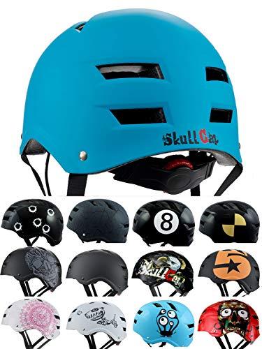 SkullCap Casque BMX - Casque Skate - Casque Velo, Design: Blue Ocean, Taille: L (58 - 61 cm)