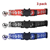 Breakaway Reflective Cat Collars Safety Release with Bell for Kitten Quick Release, 3 PCS