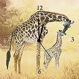 Artland Analoge Wand-Funk-oder Quarz-Uhr Digital-Druck Leinwand auf Holz-Rahmen gespannt mit Motiv A. S. Giraffe mit Jungtier_braun Tiere Wildtiere Giraffe Malerei Ocker A1GP