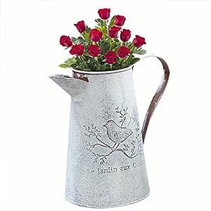 TwinkBling, Vintage-Gießkanne im französischen Stil, Weiß, Shabby Chic, Metall-Krug mit Vase mit Deko-Vogel Tall