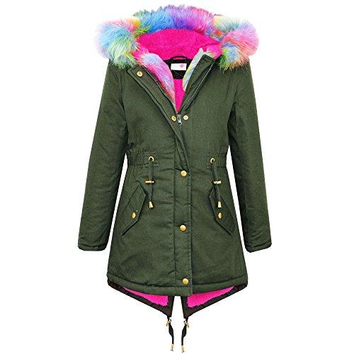 Nuovo Bambini Ragazze Parka Giacche in pelliccia sintetica cappuccio bambini arcobaleno, Kaki Parka Cappotto Cappuccio Giacca colore dell' Esercito età 7-13anni Rainbow Fur Hood 9-10 Anni