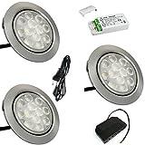 3 Stück | 12V | LED Möbeleinbaustrahler Luna | 3W | Kabel mit Mini Stecker | Mini Verteiler | LED Trafo | 230V Zuleitung