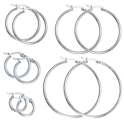 Zhenhui Stainless Steel Hypoallergenic Hoop Huggie Earring Sets 5 Pairs for Women Men Valentine's Day Birthday Holiday Gift