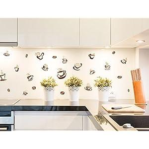 I-love-Wandtattoo Adesivo murale Cucina Set di Adesivi Parete Tazze di caffè per l'incollaggio de