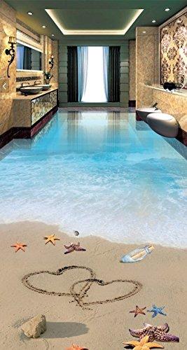 Wongxl Die Stereoskopische 3D, Selbstklebend Zum Strand Romantischen Strand Meerblick Wohnzimmer Keramische Fliese Boden 350cmX300cm -