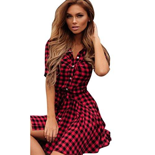 Sommerkleider VENMO Damen Gitter Knopf Mini Kleid Rot