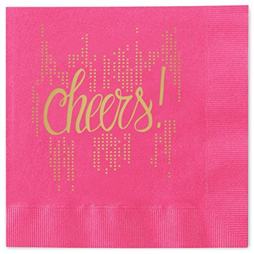 bubbly-cheers-beverage-cocktail-napkins-set-of-25-magenta-pink-paper-napkins-with-gold-foil-54063b-b