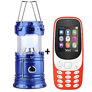 I KALL K3310 Basic Feature Phone (Red, 64MB) and Solar Powered Rechargeable LED Lantern Combo