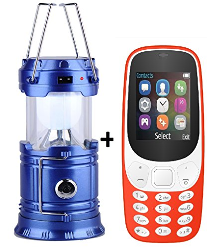 IKALL K3310 Basic Feature Phone (Red, 64MB) and Solar Powered Rechargeable LED Lantern Combo