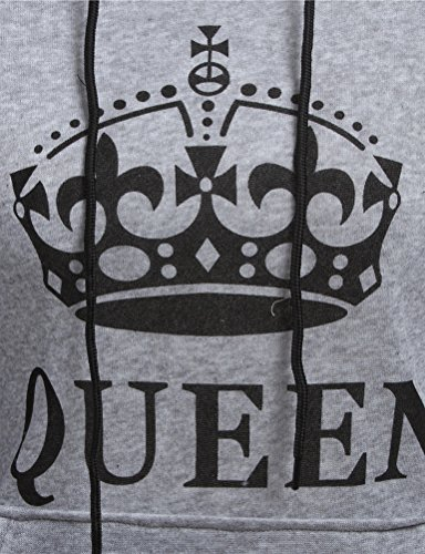 Nlife Women and Men Couple Clothes Letter Printed King Queen Hooded Outfits Couple Long Sleeve Match Hoodies Adult Lovers Pullovers Sweatshirt Queen Grey