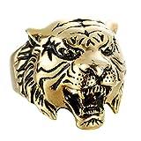 DOLOVE Edelstahl Ring Herren Titanringe Gold Tier Kopf Tiger Gothic Punk Ring Partnerring Herren Ringe Größe 57 (18.1)
