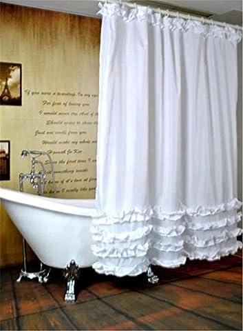 Weiß Blau gekräuselten Prinzessin Lolita Kleid Bad wasserdicht Duschvorhang, Weiß (Prinzessin Gekräuselten)