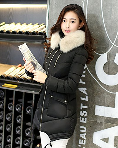 LaoZan Damen Langer Mantel Winter Warm Jacke Steppjacke Outerwear Wintermantel Mit Faux-Fur Kapuze Schwarz