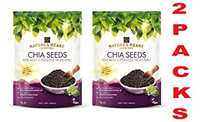 (Free Next Day Delivery for Prime Members*) TERRAFERTIL Nature's Heart Chia Seeds 1KG - RAW,VEGAN,GLUTEN + GMOs FREE Pack of 2 Bags Exclusive Only by slamtech with a Free Gift by slamtech_online